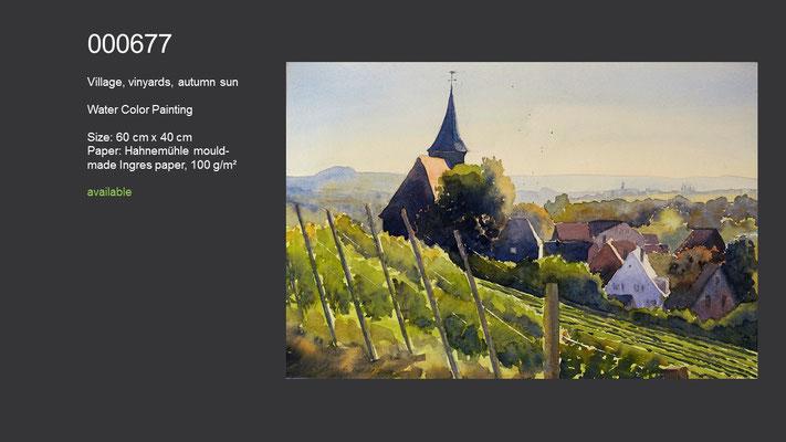 677 / Village, vinyards, autumn sun, Watercolor painting, 60 cm x 40 cm; available