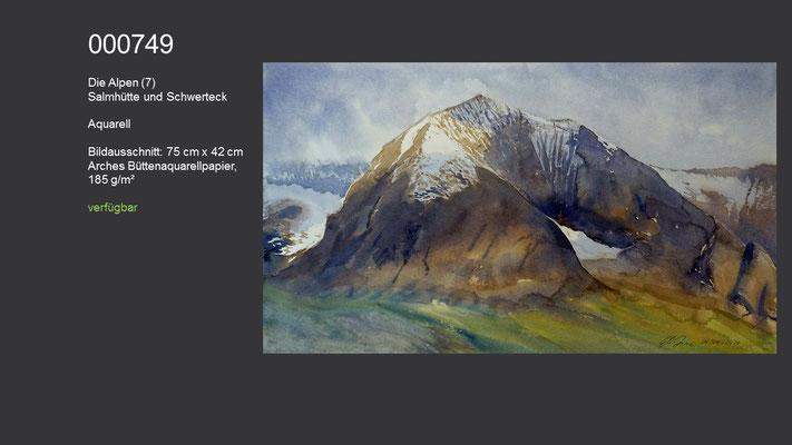 749 / Aquarell / Die Alpen (7) - Salmhütte und Schwerteck, 75 cm x 42 cm; verfügbar