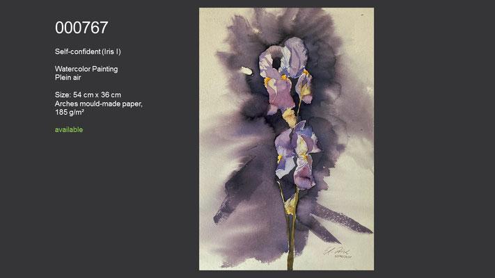 767 / Self-confident (Iris I), Watercolor painting, plein air, 54 cm x 36 cm; available