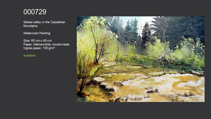729 / Sebes valley in the Carpathian Mountains, Watercolor painting, 60 cm x 40 cm; available