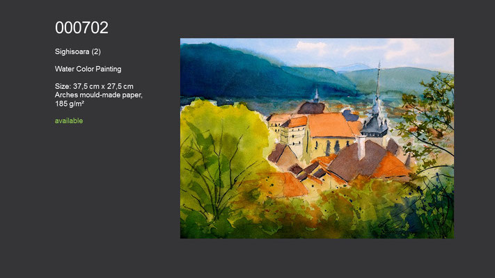 702 / Sighisoara, Romania, Watercolor painting, 37,5 cm x 27,5 cm; available