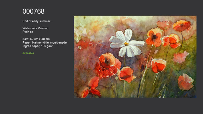 768 / End of early summer, Watercolor painting, plein air, 60 cm x 40 cm; available