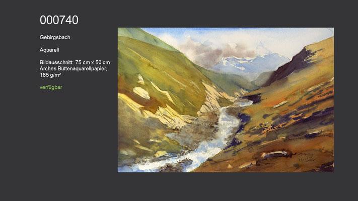 740 / Aquarell / Gebirgsbach, 75 cm x 50 cm; verfügbar