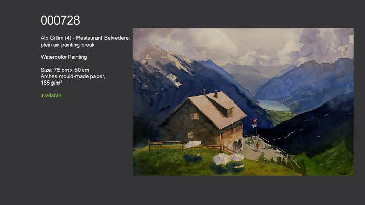 728 / Alp Grüm - Alp Grüm (4) - Restaurant Belvedere, plein air painting break, Watercolor painting, 75 cm x 50 cm; available