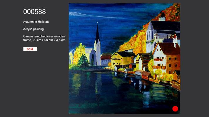 Autumn in Hallstatt, Acrylic Painting, sold