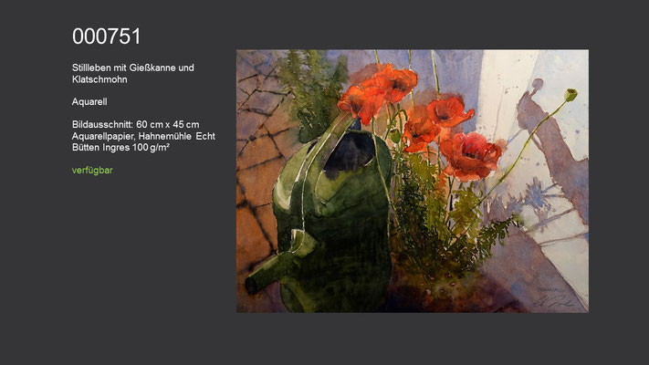 751 / Aquarell / Stillleben mit Giesskanne und Klatschmohn; 60 cm x 45 cm; verfügbar