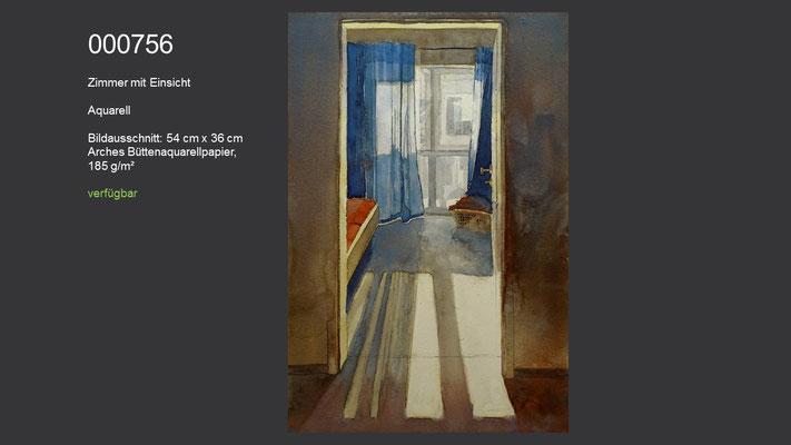 756 / Aquarell / Zimmer mit Einsicht; 54 cm x 36 cm; verfügbar
