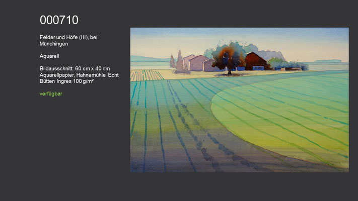 710 / Aquarell / Felder und Höfe (III), bei Münchingen, 60 cm x 40 cm; verfügbar