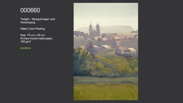 660 / Twilight - Markgröningen and Hohenasperg, Watercolor painting, 75 cm x 50 cm; available