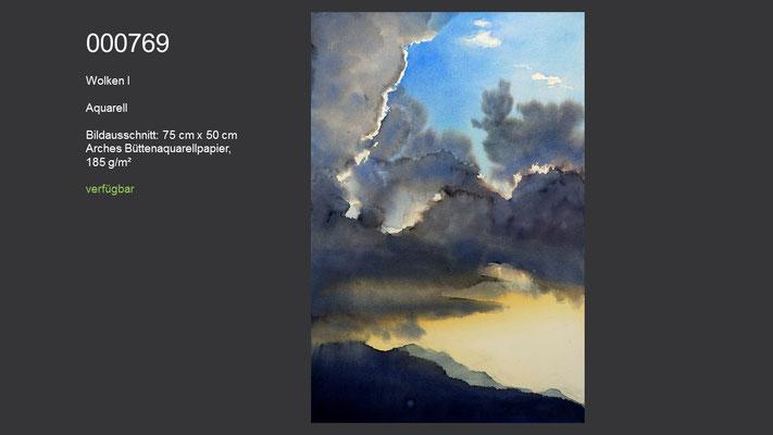 769 / Aquarell / Wolken I; 75 cm x 50 cm; verfügbar