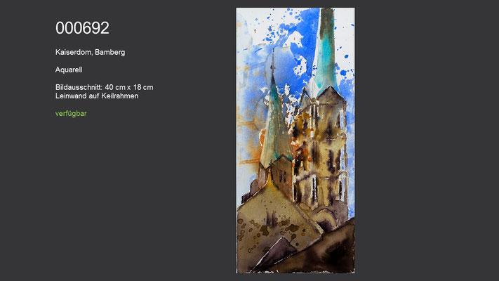 692 / Aquarell / Kaiserdom, Bamberg; Aquarell auf Leinwand (Keilrahmen), ca. 18 cm x 40 cm; verfügbar