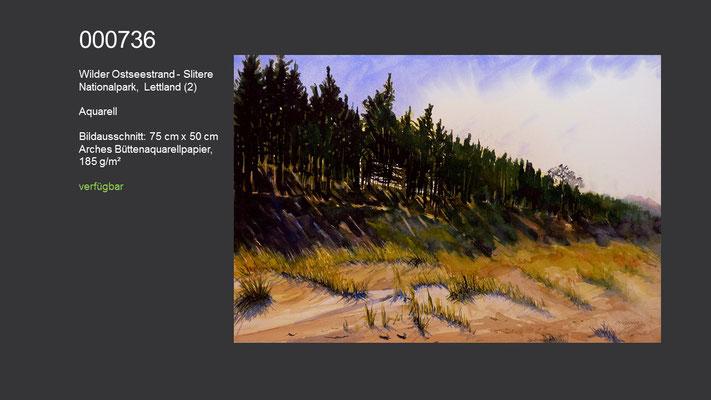 736 / Aquarell / Wilder Ostseestrand - Slitere Nationalpark, Lettland (2), 75 cm x 50 cm; verfügbar