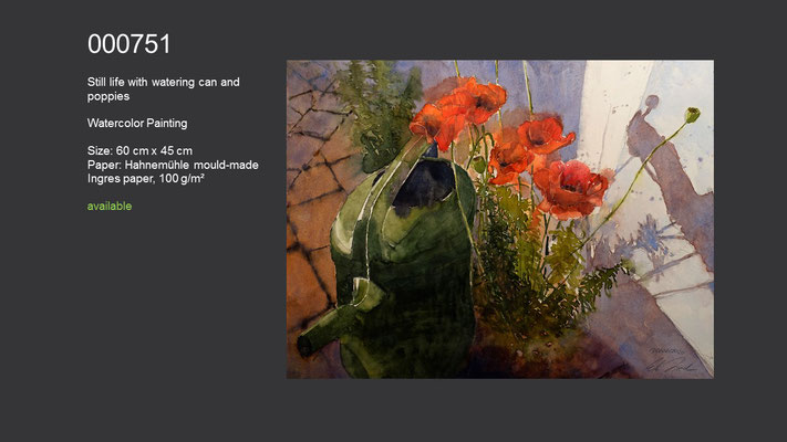 751 / Still life with watering can and poppies, Watercolor painting, 60 cm x 45 cm; available