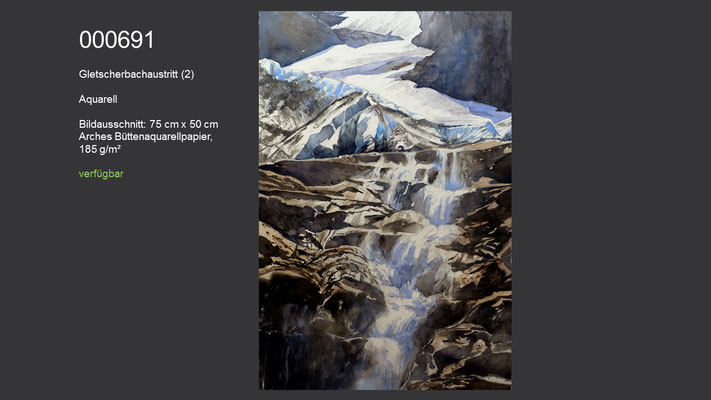 691 / Aquarell / Gletscherbachaustritt, 75 cm x 50 cm; verfügbar