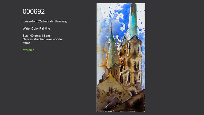 692 / Kaiserdom (Cathedral), Bamberg; Watercolor on canvas, ca. 18 cm x 40 cm; available