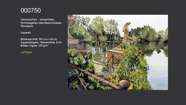 750 / Aquarell / Verwunschen - verwachsen, Schlossgarten des Seeschlosses Monrepos; 60 cm x 45 cm; verfügbar