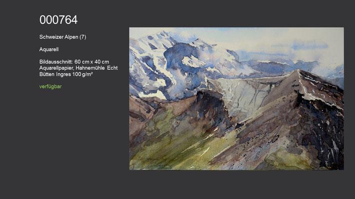 764 / Aquarell / Schweizer Alpen (7); 60 cm x 40 cm; verfügbar
