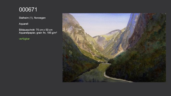 671 / Aquarell / Stalheim (1), Norwegen, 75 cm x 50 cm; verfügbar