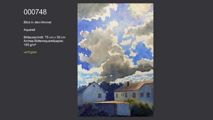 748 / Aquarell / Blick in den Himmel, 75 cm x 50 cm; verfügbar