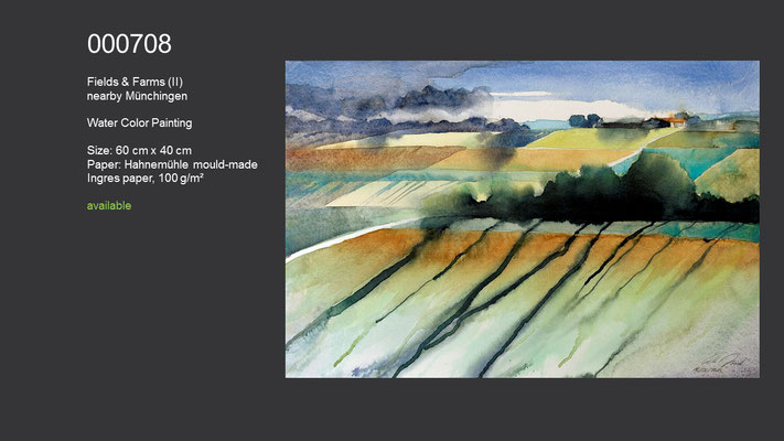 708 / Fields and farms (II) near by Münchingen, Watercolor painting, 60 cm x 40 cm; available