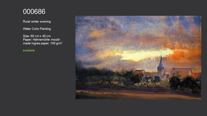 686 / Rural winter evening, Watercolor painting, 60 cm x 40 cm; available