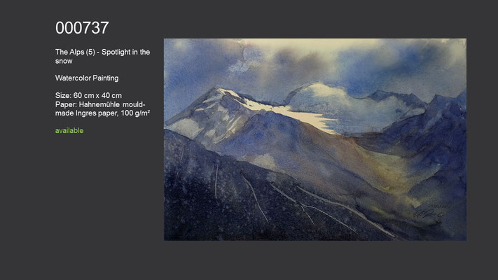 737 / The Alps (5) - Spotlight in the snow, Watercolor painting, 60 cm x 40 cm; available