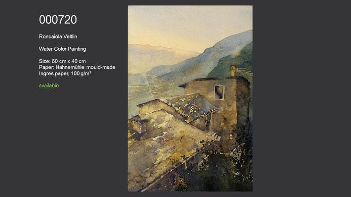 720 / Roncaiola, Veltlin, Watercolor painting, 60 cm x 40 cm; available