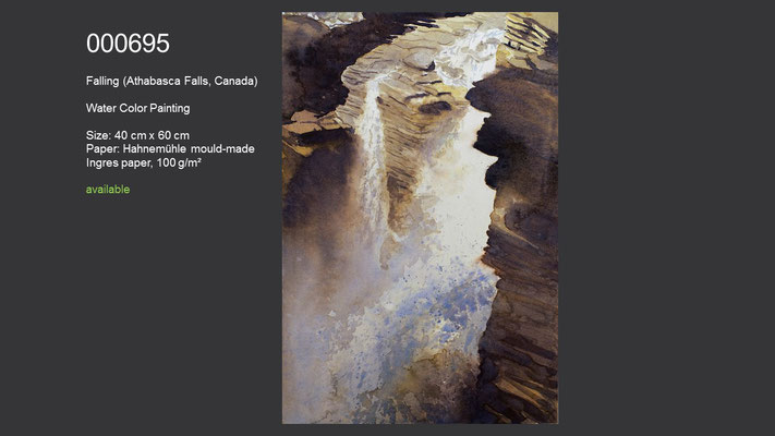 695 / Falling (Athabasca Falls, Canada), Watercolor painting, 60 cm x 40 cm; available