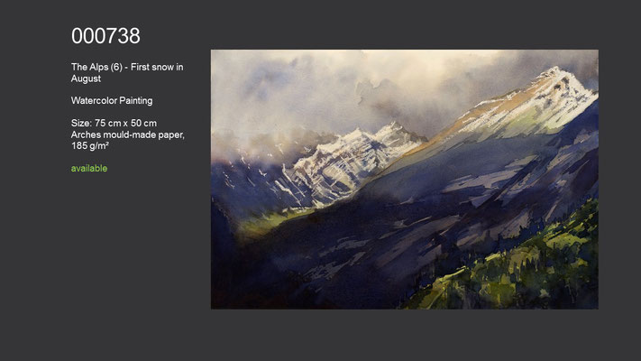 738 / The Alps (6) - First snow in August, Watercolor painting, 75 cm x 50 cm; available