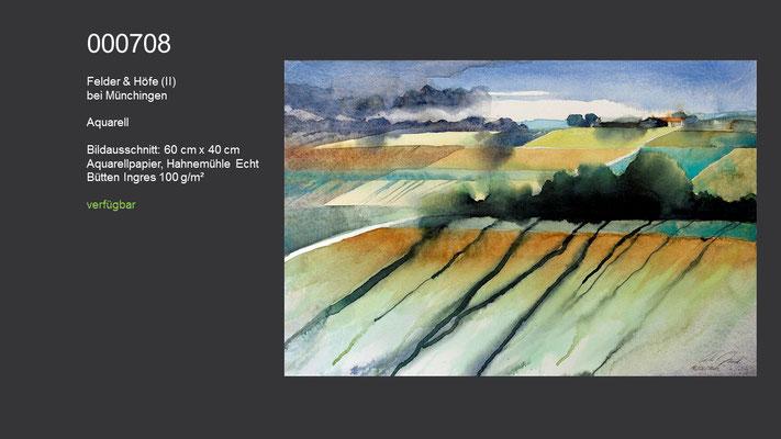 708 / Aquarell / Felder und Höfe (II), bei Münchingen, 60 cm x 40 cm; verfügbar