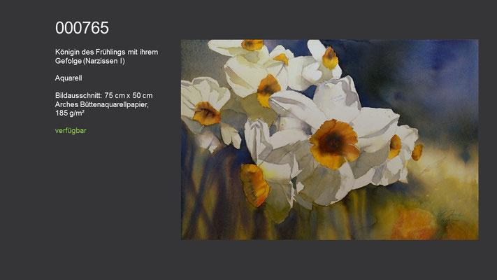 765 / Aquarell / Königin des Frühlings mit ihrem Gefolge (Narzissen I); 75 cm x 50 cm; verfügbar