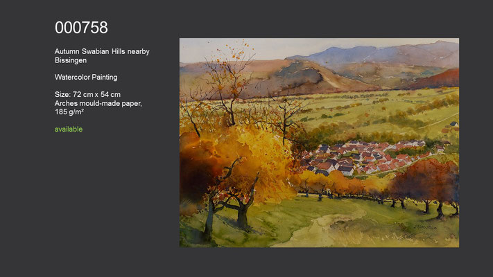 758 / Autumn Swabian Hills nearby Bissingen, Watercolor painting, 72 cm x 54 cm; available
