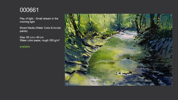 661 / Play of light - Small stream in the morning light (2), Watercolor painting, 60 cm x 40 cm; available