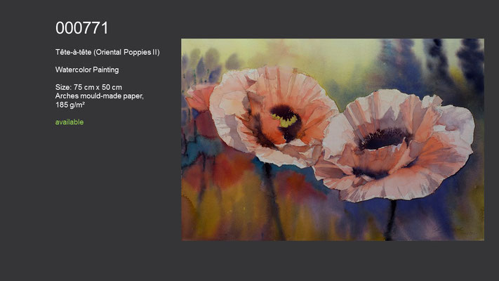 771 / Tete-a-tete (Oriental Poppies II), Watercolor painting, 75 cm x 50 cm; available