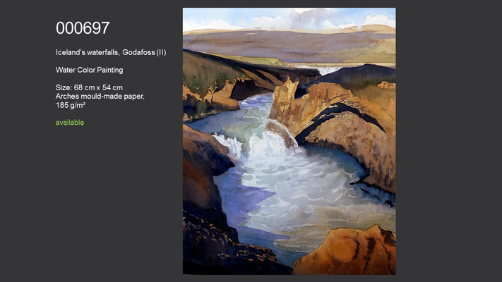 697 / Water in Action - Iceland's waterfalls, Godafoss (II), Watercolor painting, 68 cm x 54 cm; available