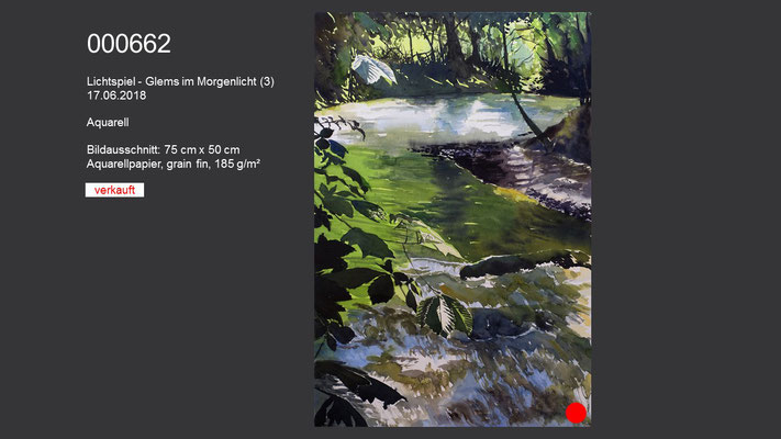 662 / Aquarell / Lichtspiel - Glems im Morgenlicht (3), 75 cm x 50 cm; VERKAUFT