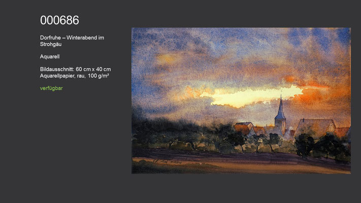 686 / Aquarell / Dorfruhe - Winterabend im Strohgäu, 60 cm x 40 cm; verfügbar