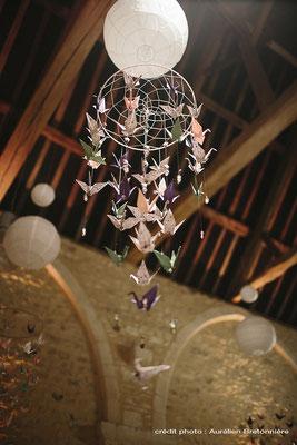 Décoration de table à la Grange d'Espin thème Champêtre/Geek : Mobile Origami Aérien