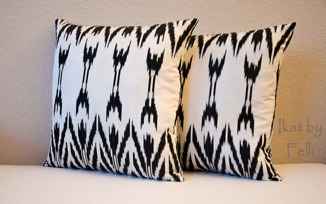 Kissenbezug IKAT-Seide Kissenhülle Baumwolle 40x40 cm black&white