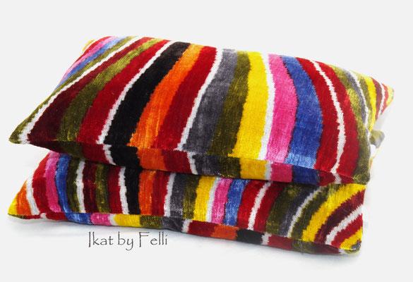 IKAT silk velvet finest quality IKATbyFelli.com pillow Kissen rainbow regenbogen avantgarde