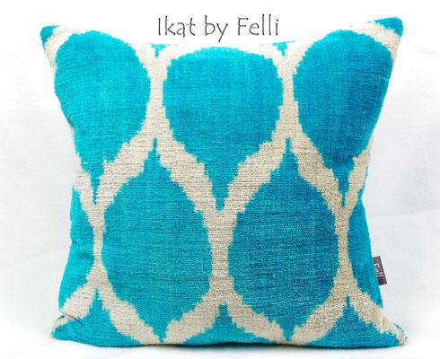 IKAT silk velvet finest quality IKATbyFelli.com pillow Kissen blue aqua blau avantgarde