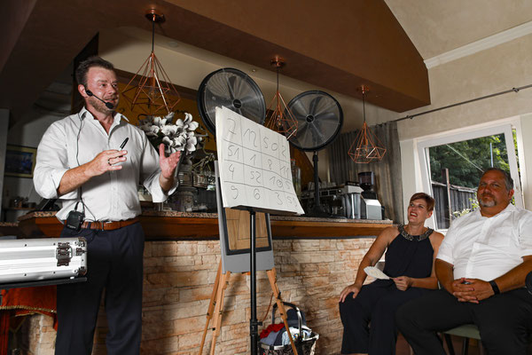 Zauberer in Rottenburg zeigt ein interaktives Spiel, von Tisch zu Tisch, von Clou zu Clou, bei dem alle Sinne in Rottenburg stimuliert werden.
