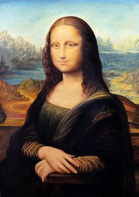 Leonardo Da vinci  la gioconda  70x50 olio su tela