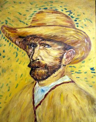 van gogh autoritratto con cappello di paglia50x40 olio su tela