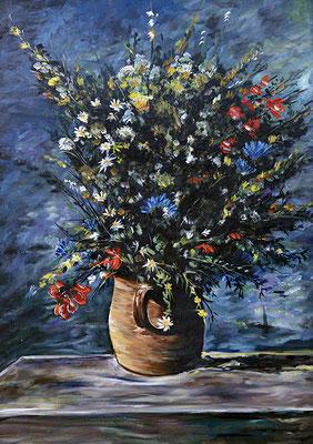 RENOIR grande vaso di fiori 70x50 olio su mdf