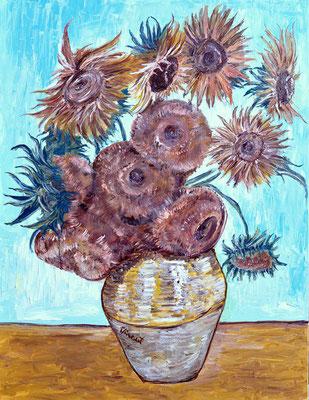 VanGogh vaso di girasoli 70x90 olio su tela