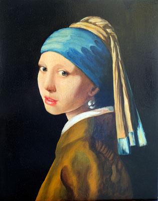 Vermeer la ragazza con l'orecchino di perla 50x40 olio su tela