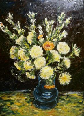 Van Gogh fiori in un vaso 70x50 olio su tela