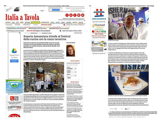 giornale Itaia in tavola primo posto festival della cucina
