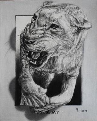 """Lionne, dans la série : """"Sortir des cadres"""" - D'après une photo de """"galianogangster"""" sur Deviantart, avec son autorisation."""